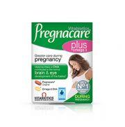 Το συμπλήρωμα διατροφής Pregnacare Plus της Vitabiotics είναι μια διπλή συσκευασία που περιλαμβάνει τις ταμπλέτες Pregnacare Original και ωμέγα-3 κάψουλες