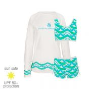 UV Sun Clothes UPF 50+ Mermaid Sports Set Bikini & Rash Top with long sleeves 5-6 years (114-117cm)