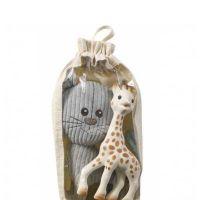 Sophie La Girafe Σετ Το Πρώτο Παιχνίδι Του Μωρού Που Διεγείρει Όλες Τις Αισθήσεις & Λούτρινη Γκρι Γατούλα 0Μ+