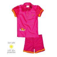 UV Sun Clothes Αντηλιακά Ρούχα UVA & UVB Μαγιό Σετ Μπλούζα/ Σορτς Ροζ Ποντικάκι 5-6 χρονών 110-116cm