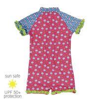 UV Sun Clothes Αντηλιακά Ρούχα UVA & UVB Ολόσωμο Μαγιό Φορμάκι Λουλούδια Ροζ 3-4 χρονών