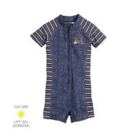 UV Sun Clothes Αντηλιακά Ρούχα UVA & UVB Ολόσωμο Μαγιό Φορμάκι Τζιν Μπλε 6-12 μηνών 74-80cm