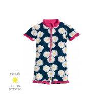 UV Sun Clothes Αντηλιακά Ρούχα UVA & UVB Ολόσωμο Μαγιό Φορμάκι Μπλε/Ροζ Μαργαρίτες 7-8 χρονών 122-128cm