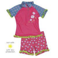 UV Sun Clothes Αντηλιακά Ρούχα UVA & UVB Μαγιό Σετ Μπλούζα/ Σορτς Ροζ Λουλουδια 7-8 χρονών 122-128cm