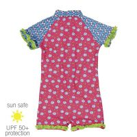 UV Sun Clothes Αντι-ηλιακά Ρούχα UVA & UVB Ολόσωμο Μαγιό Φορμάκι Λουλούδια Ροζ 1-2 χρονών 86-92cm