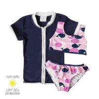 UV Sun Clothes Αντηλιακά Ρούχα UPF 50+ Σετ Μαγιό 3τμχ Μπικίνι & Ζακέτα με φερμουάρ Φάλαινες 4-5 χρονών (102-112cm)