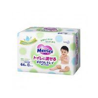 Merries Flushable Baby Wipes Refill Μωρομάντηλα Τουαλέτας 64τμχ  x3