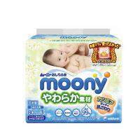 Moony Baby Wipes Μωρομάντηλα σε πλαστική θήκη 80pcsMoony Baby Wipes Refill Μωρομάντηλα 80pcs x 3