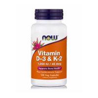 Now Vitamin D-3 & K-2 1000IU 45mcg 120 Veg Capsules