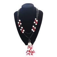 Χειροποίητα Κοσμήματα με Ημιπολύτιμους Λίθους Pdesign Κολιέ με Χάντρες από Μαύρο Όνυχα, Κόκκινο Αχάτη & Fresh Water Pearls