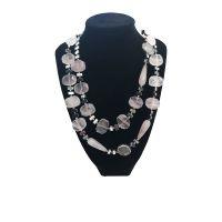 Χειροποίητα Κοσμήματα με Ημιπολύτιμους Λίθους Pdesign Κολιέ με Χάντρες από Ροζ Quartz & Αιματίτη