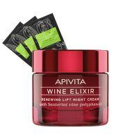 Apivita Set Με Wine Elixir Κρέμα Νύχτας Για Ανανέωση & Lifting 50ml & Prickly Pear Μάσκα Για Ενυδάτωση 2x8ml 3τμχ