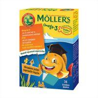 Moller's Omega-3 Μουρουνέλαιο Με Γεύση Πορτοκάλι - Λεμόνι 36 Ζελεδάκια Ψαράκια