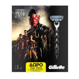 Gillette Mach3 Set Justice League Limited Edition Με Ξυριστική Μηχανή & 2 Ανταλλακτικά & Δώρο Τζελ Ξυρίσματος 75ml