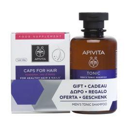 Apivita Set Food Supplement For Healthy Hair & Nails 30 Caps & GIFT Men's Tonic Shampoo 250ml