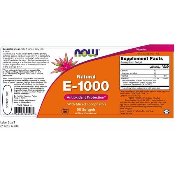 Now Natural E-1000 50 Softgels