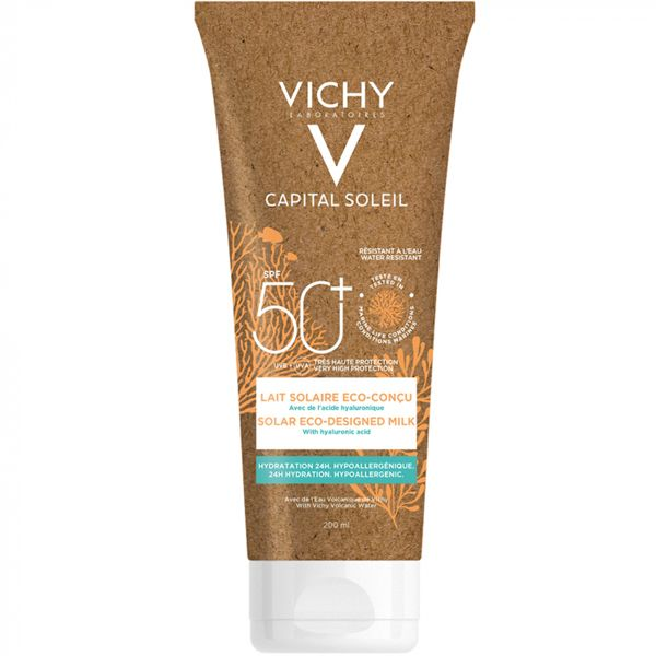Vichy Capital Soleil Αντηλιακό Γαλάκτωμα Προσώπου/Σώματος Με Υαλουρονικό Οξύ Spf50+ Εco Pack 200ml