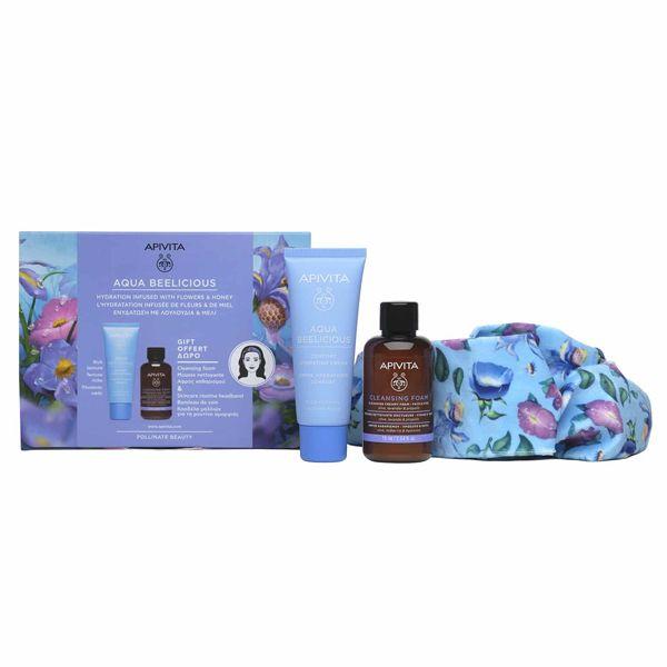 Apivita Aqua Beelicious Set Με Απαλή Κρέμα Προσώπου Ενυδάτωσης Πλούσιας Υφής Με Λουλούδια & Μέλι 40ml & Δώρο Κρεμώδης Αφρός Καθαρισμού Προσώπου Με Ελιά & Λεβάντα 75ml & Κορδέλα Μαλλιών